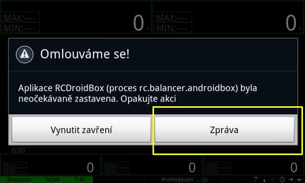 Okno padu aplikace v systemu Android